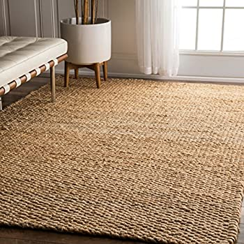 NuLOOM Natura Collection Hailey Jute Natural Fibers Solid And Striped Hand  Made Area Rug, 5