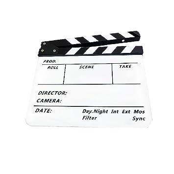 Claqueta de Cine Clapboard Tabla de Pizarra Plástica Acrílica 300 * 245 * 3 mm Vario Colores - Claqueta Blanca