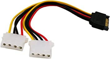 Molex to SATA Power Splitter Dual Hard Drive Cable Adapterr 2 Way 4 Pin IDE Molex to 2X 15 Pin Power Adapter Cable 8 Inch