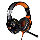 KOTION EACH G2000 Over-ear 3.5mm Cuffie da Gioco Gamer Auricolare Stereo con Microfono Stereo Bass LED Luce Regolatore di Volume per PC (Nero+Arancia)
