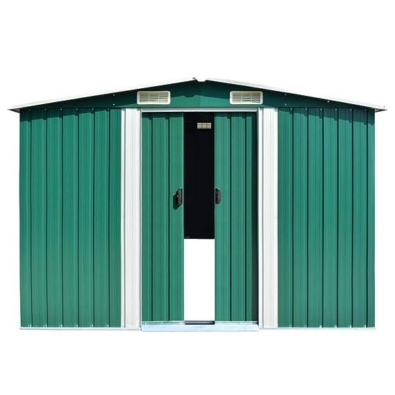 vidaXL Caseta de Jardín de Metal Verde 257x497x178cm Jardín Patio Cobertizo: Amazon.es: Bricolaje y herramientas