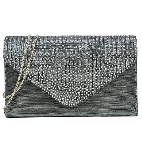 Dasein Ladies Frosted Satin Evening Clutch Purse Bag Crossbody Handbags Party Prom Wedding Envelope (Grey)