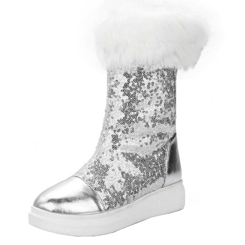 TAOFFEN Damen Winter Warm Flache Halbschaft Stiefel mit Syntherik Fell Silber