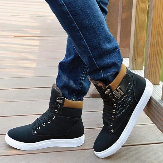 WWricotta LuckyGirls Zapatillas Casual Hombres Botas Altas Friegue Cómodas Calzado Andar Zapatos Planos Bambas con Cordones: Amazon.es: Deportes y aire ...