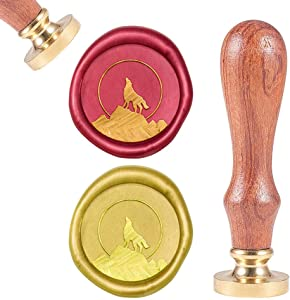 CRASPIRE Wax Seal Stamp Howling Wolf on Mountain, Sealing Wax Stamp Animal Retro Wood Stamp Wax Seal 25mm Removable Brass Head Wood Handle for Party Invitation Envelope Greeting Card Wine Bottle Decor