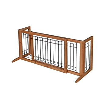 Adjustable Solid Wood Construction Freestanding Pet Gate Fence Dog Gate  Indoor