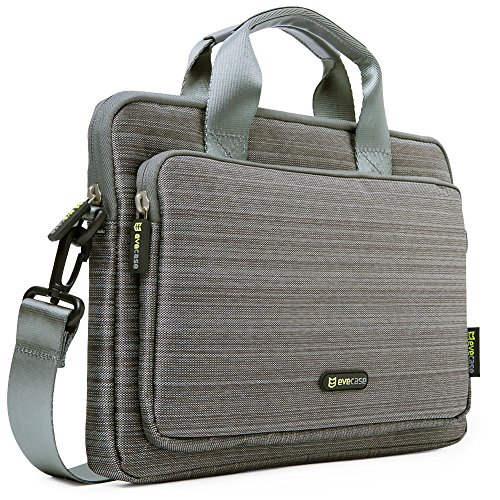 Price comparison product image Evecase 11.6'' ~ 12.5'' Notebook Chromebook Laptop Ultrabook Suit Fabric Multi-functional Neoprene Messenger Case Tote Bag with Handle and Carrying shoulder Strap (Gray)