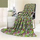 Throw Blanket And Skulls Day Catholic Ceremony Artistic Design Art Warm Microfiber All Season Blanket for Bed or Couch