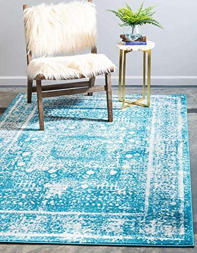 Unique Loom Rosso Collection Vintage Traditional Distressed Blue Area Rug 9' 0 x 12' 0