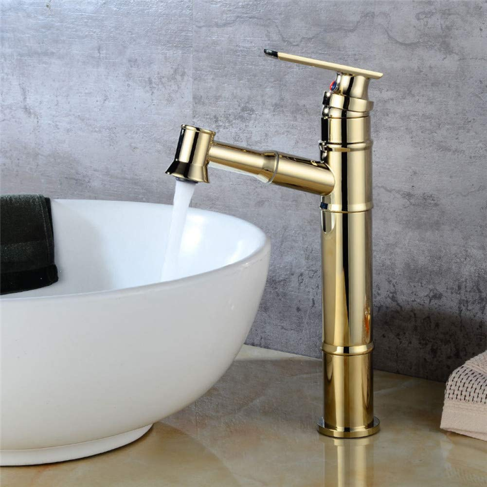 golden Bathroom Sink Taps YHSGY Bathroom Basin Faucet Antique Brass Sink Mixer Tap Single Hole Hot Cold Crane Pull Out Shower Head Basin Faucet Torneira Grifo