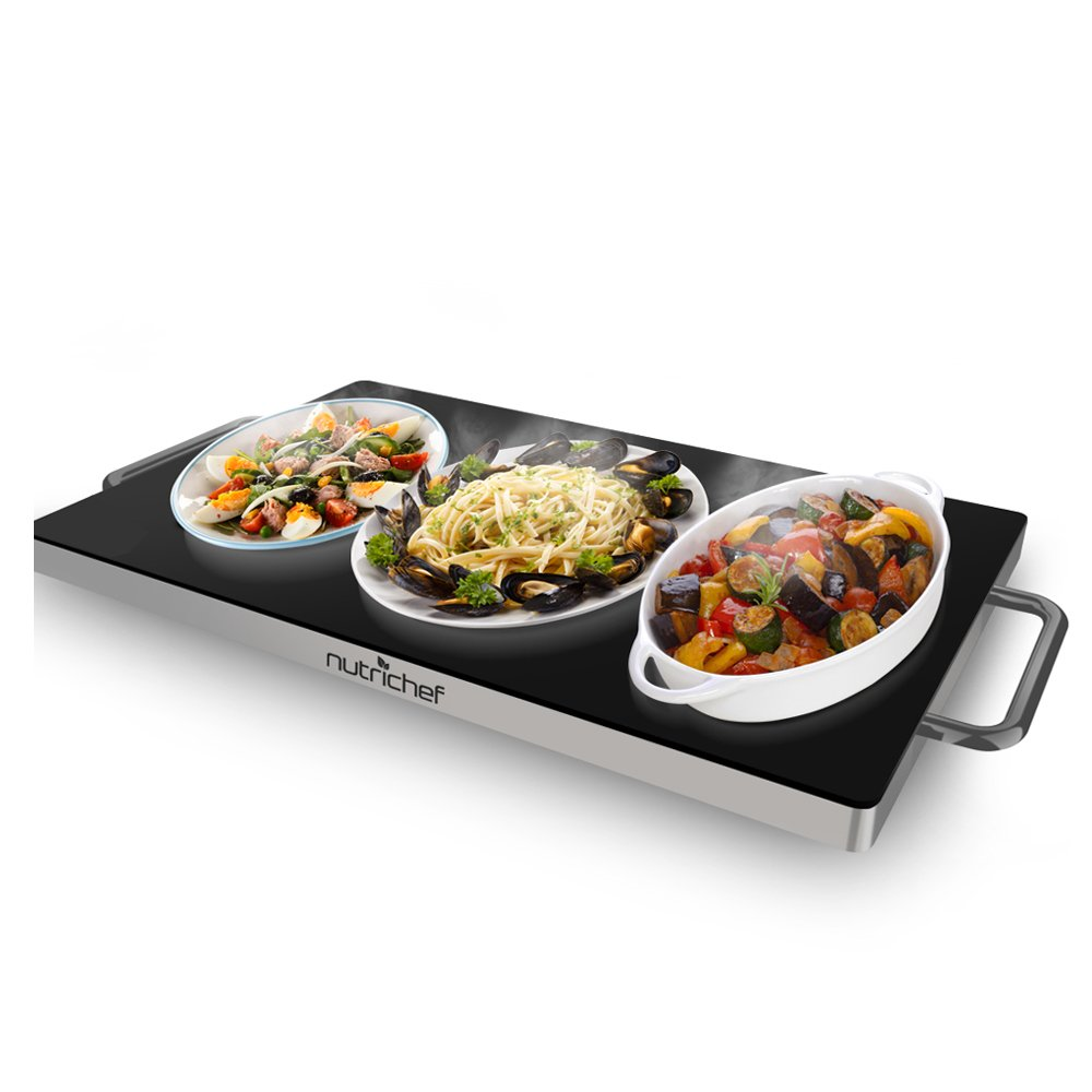 NutriChef Portable Electric Hot Plate - Stainless Steel Warming Tray Dish Warmer w/ Black Glass Top - Keep Food Warm for Buffet Serving, Restaurant, Parties, Table or Countertop Use - PKWTR45 by NutriChef