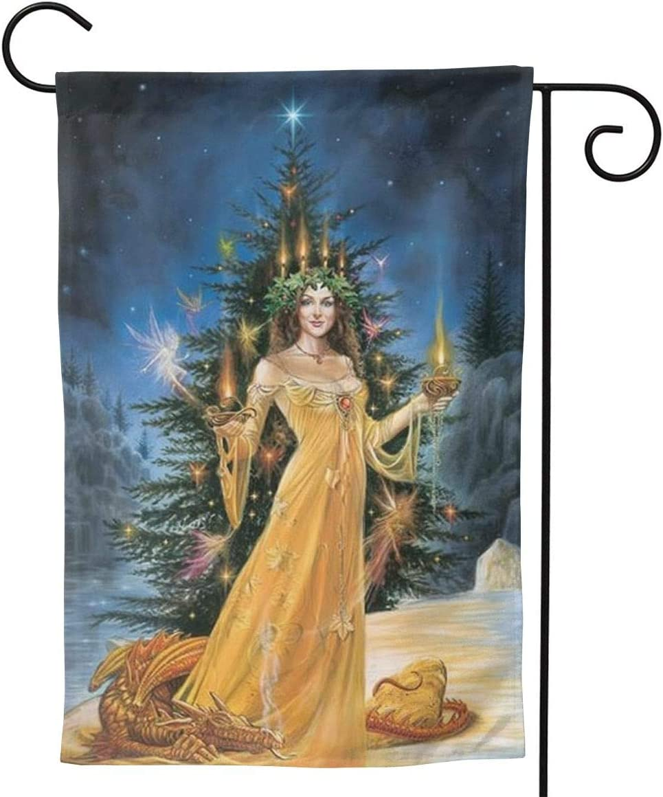 MINIOZE Christmas Yule Tree Girl Candle Big Large Jumbo Party Themed Flag Welcome Outdoor Outside Decorations Ornament Picks Garden Yard Decor Double Sided 12.5X 18 Flag
