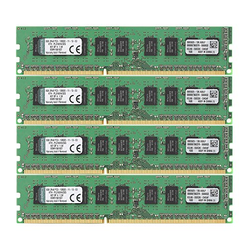 Kingston Technology 32GB Kit of 4 (4 x 8GB) DDR3 1600MHz PC3-12800 ECC DIMM Memory for Select HP/Compaq Desktops KTH-PL316EK4/32G