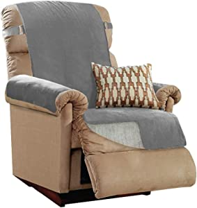 GORILLA GRIP Original Slip Resistant Recliner Protector for Seat Width up to 26 Inch, Patent Pending Suede-Like Furniture Slipcover, 2 Inch Straps, Reclining Chair Slip Cover Throw for Dogs, Gray