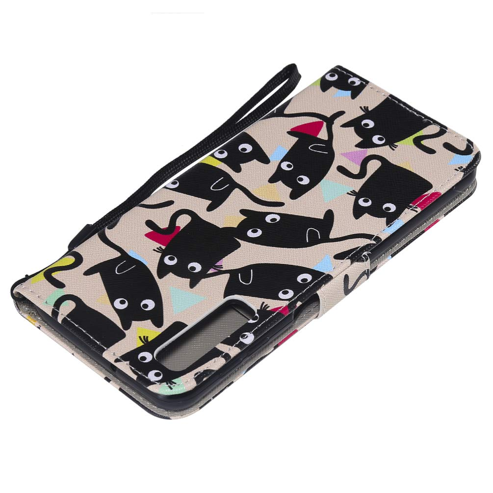 Black cat Samsung Galaxy A7 2018 Case Shockproof PU Leather Notebook Wallet Case with Kickstand Card Holder ID Slot Slim Flip Protective Skin Cover Colorful Painting for Samsung Galaxy A7 A750 2018