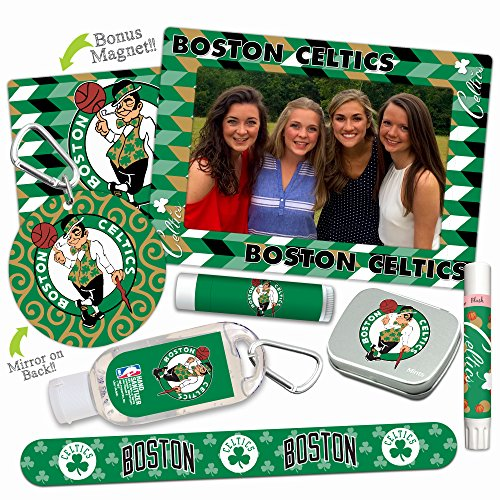 (Boston Celtics Deluxe Variety Set with Nail File, Mint Tin, Mini Mirror, Magnet Frame, Lip Shimmer, Lip Balm, Sanitizer. NBA Basketball Gifts and Gear for Women)