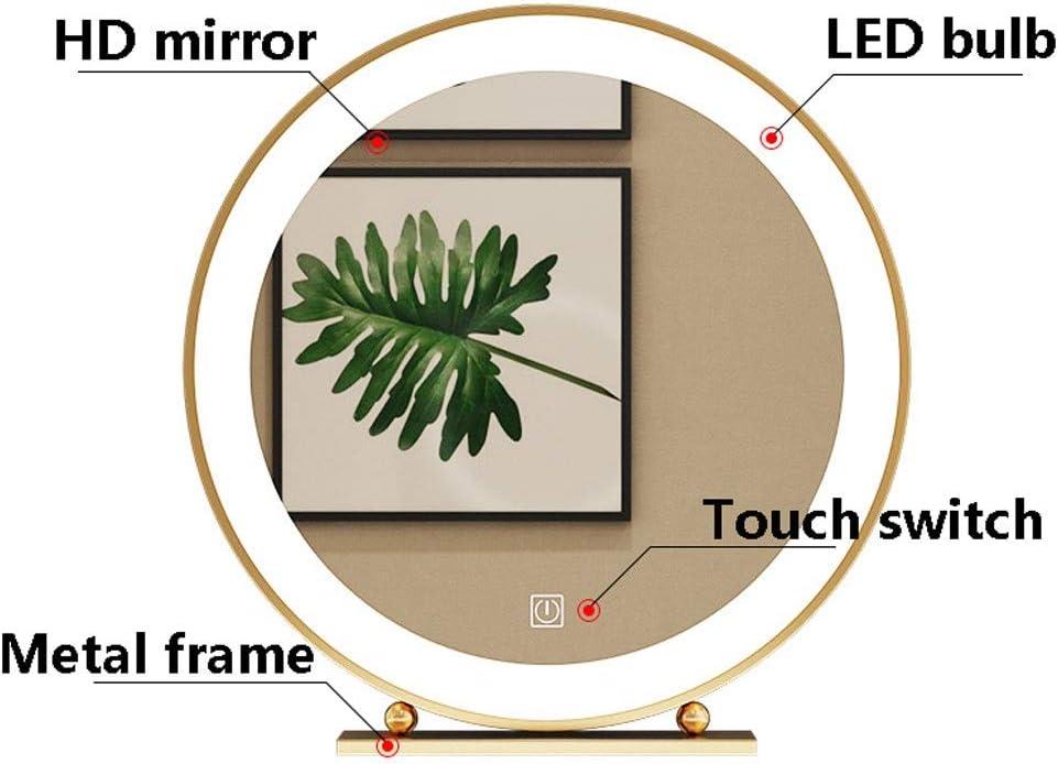 HD-Dressing Spiegel Rund 40cm 50cm Size : 60cm White Light-Energieeffizienzklasse A LED-Beleuchtung Desktop-Schminkspiegel Wasserdicht Smart Touch-Schalter 60cm for Hotel-Schlafzimmer