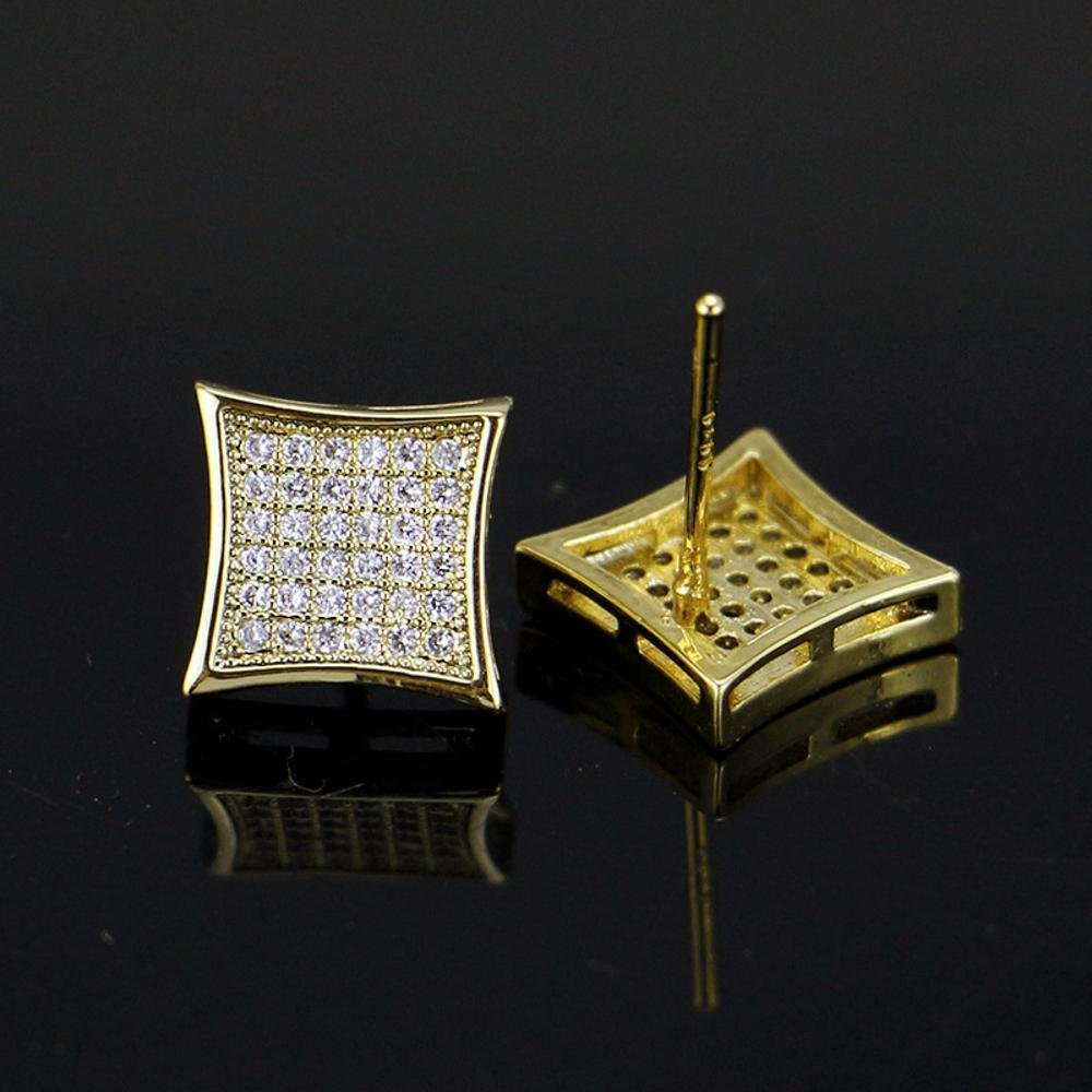 Daeou Mens Earrings Mens stud with zircon gold square stud stud