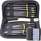 Swpeet 18Pcs Needle File Set with 4 Pcs Sandpaper, Mini Assorted Wood Rasp Set Steel Needle Files Trimming File with Brush in One Package for Wood and Soft Stuffs Carving