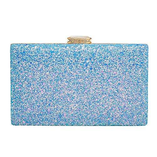 Women's Elegant Sparkling Glitter Evening Clutch Bags BlingEvening Handbag Purses For Wedding Prom Bride(Light Blue) (Blue Clutch Purse)