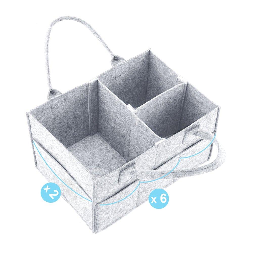 L/ätzchen Best Baby Dusche Geschenk Korb Windel Bei/ßring PER Filz Baby Windel Caddy Organizer Korb tragbar Storage Bin gro/ß Kindergarten Tasche mit herausnehmbaren Trennw/änden f/ür Wickelkommode