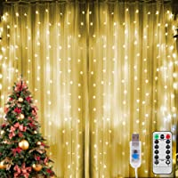 Luces de Cortina LED 3 m x 3 m, 300LEDs Cadena de luces de Luces Blanco Cálido con USB, 8 Modos de Control Remoto…