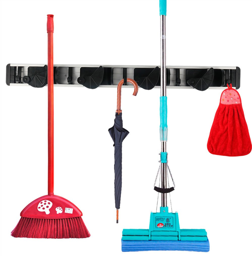 YutaoZ Wall Mounted Mop and Broom Holder, Flexible 4 Positions & 5 Hooks Garage Storage, Broom and Mop Organizer for House and Garage (Black)