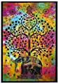 Yajna Indian Hippie Gypsy Bohemian Psychedelic Good Luck Tie Dye Elephant Tree Wall Hanging Tapestry Twin Size 54x72 Inches 140x185 Cm