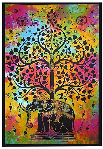 Yajna Indian Hippie Gypsy Bohemian Psychedelic Good Luck Tie Dye Elephant Tree Wall Hanging Tapestry Twin Size 54x72 Inches 140x185 - Outfitters Shipping Urban International