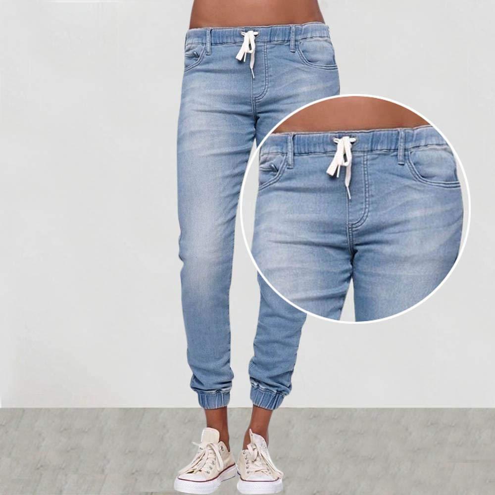 MTOFAGF Womens Leisure Pure Color Loose Lace-up Jeans Fashion Ladies Denim Pants MTOFAGF Brings You The Best Color : Light Blue, Size : L