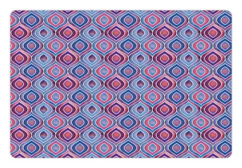 Lunarable Bohemian Pet Mat for Food and Water, Abstract Ornamental Pattern with Folkloric Batik Tiles Dotted Oval Shapes, Rectangle Non-Slip Rubber Mat for Dogs and Cats, Blue Purple Pink