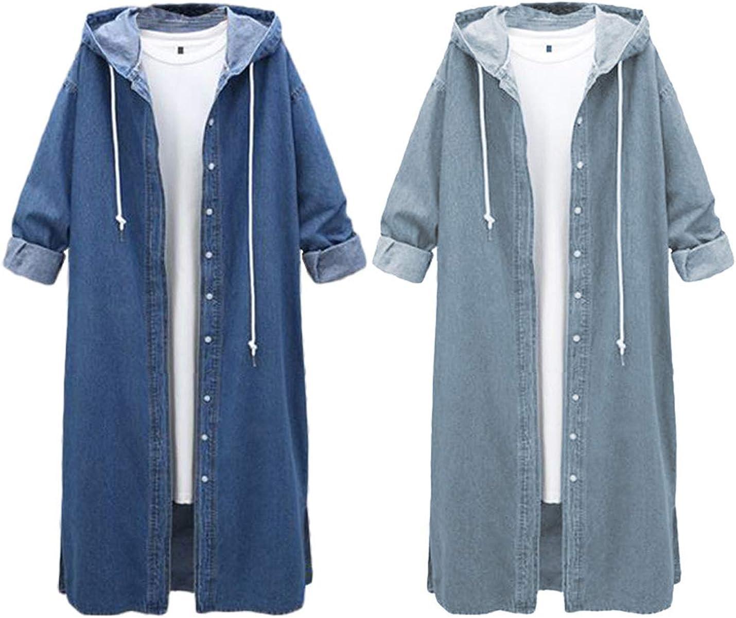 Liengoron Womens Casual Long Sleeve Loose Cardigan Hooded Denim Coat Long Windbreaker