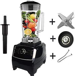 2200W Heavy Duty Commercial Blender Professional Blender Mixer Food Processor Japan Blade Juicer Ice Smoothie Machine,Black full parts1,UK Plug
