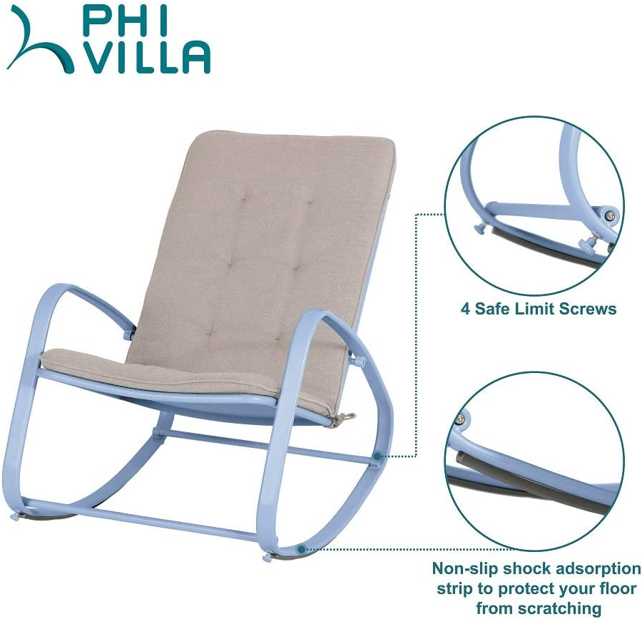 PHI VILLA Outdoor Patio Metal Rocking Chair, Padded Modern Rocker Chairs with Cushion, Support 300lbs for Porch, Deck, Balcony or Indoor Use (1 Pack, Blue): Furniture & Decor
