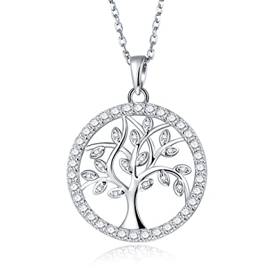 Amazon tree of life necklace in white gold plated sterling tree of life necklace in white gold plated sterling silver with cz round halo diamond aloadofball Choice Image