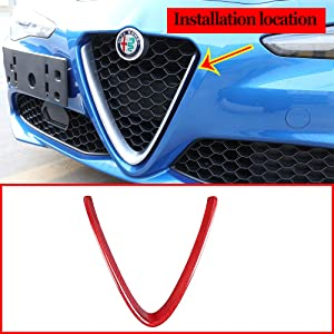 100% Red Real Carbon Fiber Made Front Grille Decoration Frame Trim V-frame Cover for Alfa Romeo Giulia 2017 2018 2019 2020 (NOT Applicable for Stelvio)