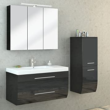 Bad Möbel Set Hochglanz Badezimmer Spiegel Schrank Waschbecken Unterschrank  LED (Anthrazit)