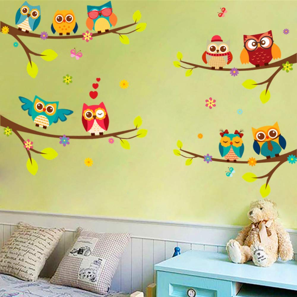 Cartoon Animal Owl Branch Wall Stickers for Kids Rooms Living Room Bedroom Home Decorative Wall Decals DIY 98X75cm