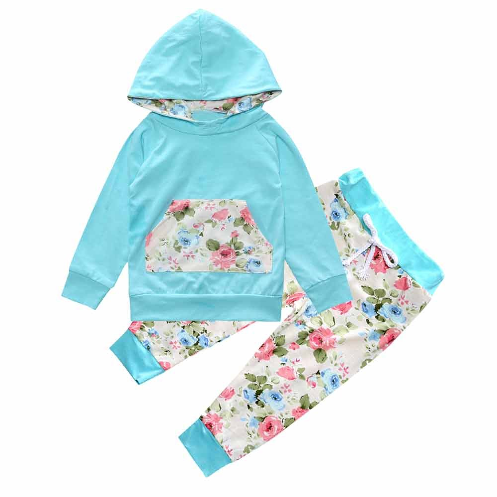 Baby Kids Long Sleeve Floral Print Blue Tracksuit Pocket Top +Pants Sets Mary ye