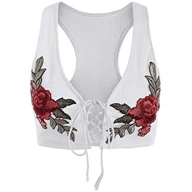 e0d15f4931fdc Rose Lace Up Crop Top Embroidered Embroidery Knitted Shirt Tank Top Ladies  Women Criss Cross Wife