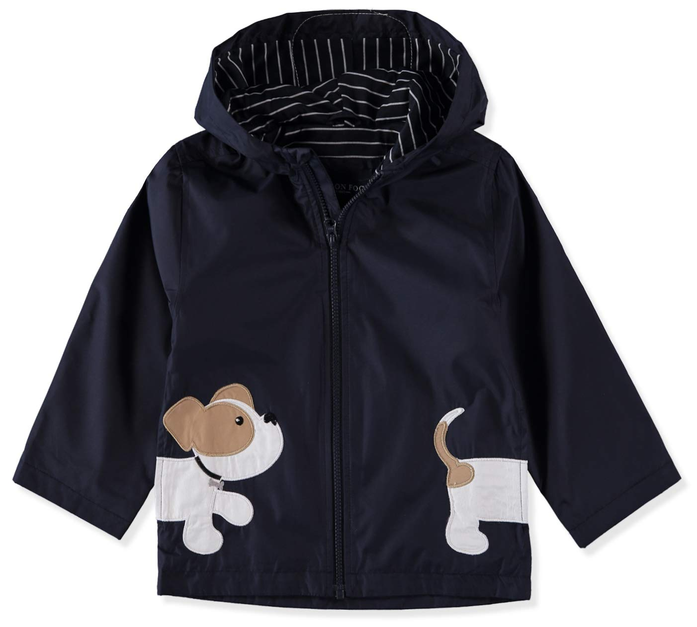London Fog Hooded Little Animal Rain Slicker Rain Jacket (Navy Puppy, 12 Months)
