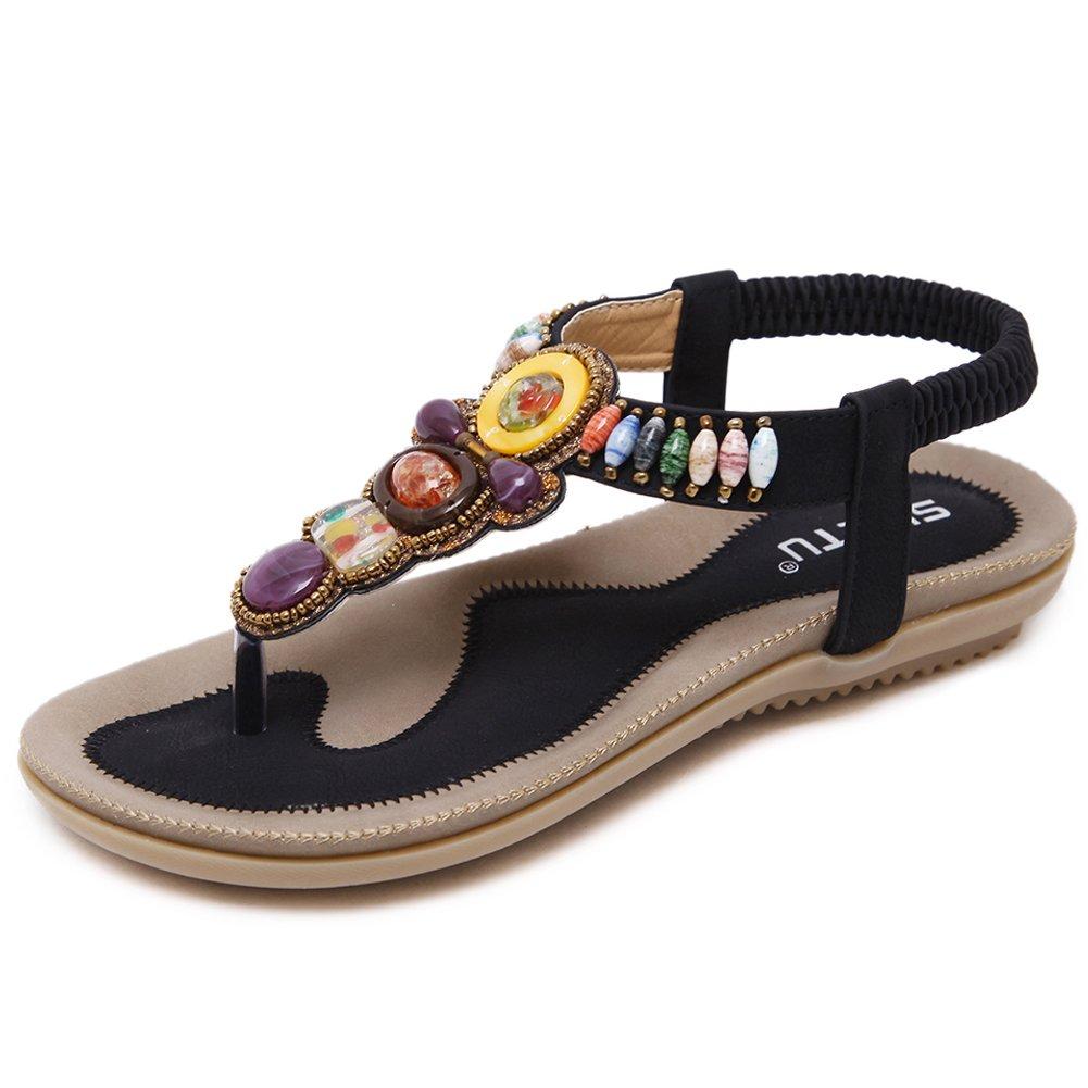 Woky Damen Sommer Sandalen mit Strass Perlen Bohemia Strand Schuhe Freizeit Flach Sandalette Grouml;szlig;e 34-44  34 EU|T-schwarz