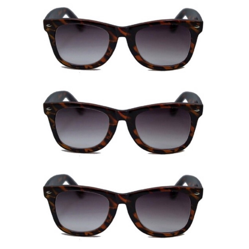 3 Pair Classic Wayfarer Full Reader Sunglasses NOT BiFocals- Tortoise 1.75
