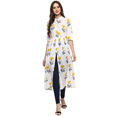 Aahwan Indian Tunic Top Kurti For Women Printed Poly Rayon Long Dress at Women's Clothing store