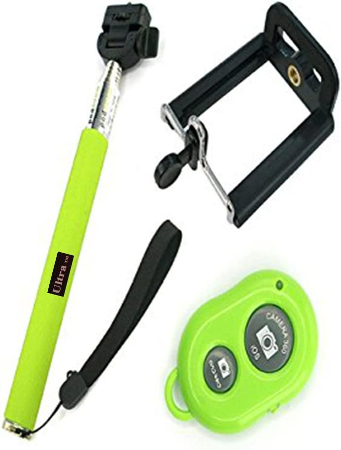 Ultra Green Handheld Bluetooth Extendable Selfie Stick No Wires Monopod Pole Compatible with All iOs Android Smart Mobile Phone 360 Degree Rotation