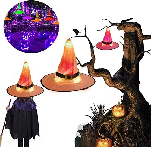 Halloween LED Lighted Witch Hats Hanging Decoration Hat Set Glowing Witch Hats with 8 Lighting Modes for Indoor Outdoor Tree Yard Holiday Halloween Decoration