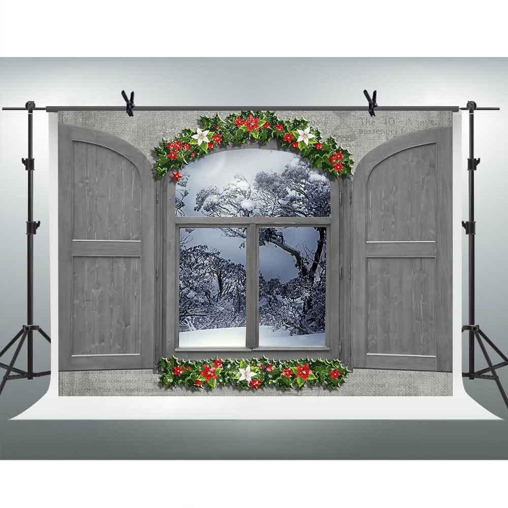 FH 7 x 5ftグレー両面開きウィンドウBackdrop雪シーンの背景写真YoutubeテーマパーティーバックドロップフォトブースStudio Props gefh015   B07CYK17LL