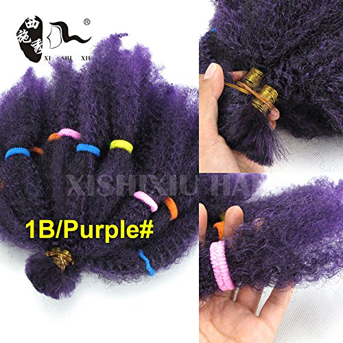 10 Inches 2Bundles Afro Kinky Braiding Hair Synthetic Bulk Hair Extensions for Black Women (1B/Purple#)