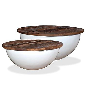 Kleiner Tisch Altholz.Vidaxl 2x Couchtisch Altholz Weiß Schüsselform Kaffeetisch