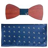 2 Set Men's Walnut Wood Bow Tie w/ Matching Pocket Square (Set 3 Sailor)